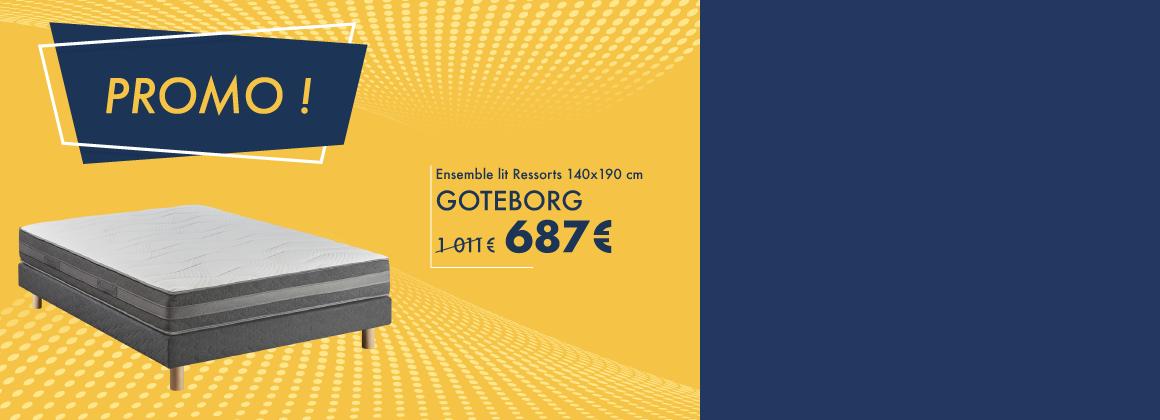Profitez de -35% sur l'ensemble Goteborg : matelas ressorts, sommier et pieds !
