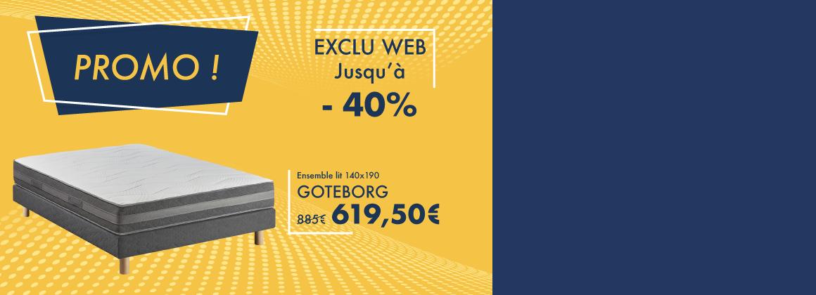 Profitez de -30% sur l'ensemble Goteborg : matelas, sommier et pieds de lit !
